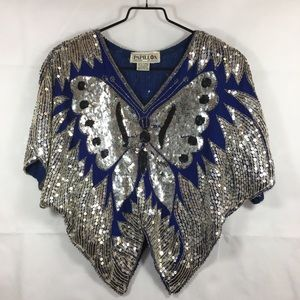 Vintage Papillon Sequin Butterfly Top